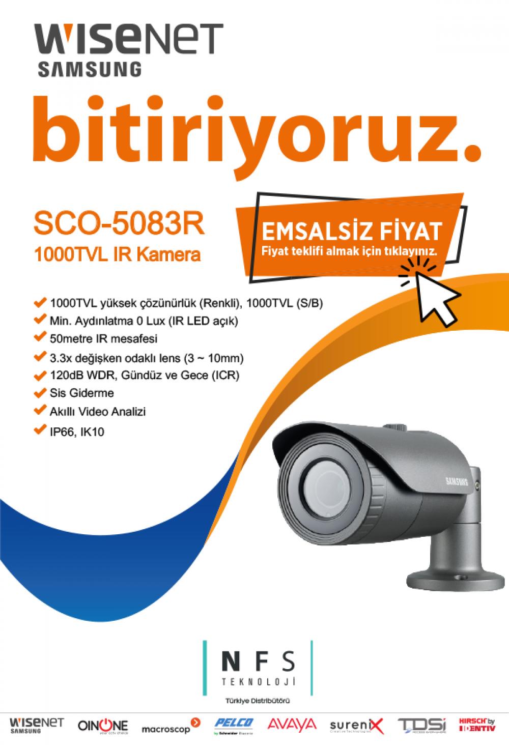 Samsung Wisenet SCO-5083R | 1000TVL IR Kamera