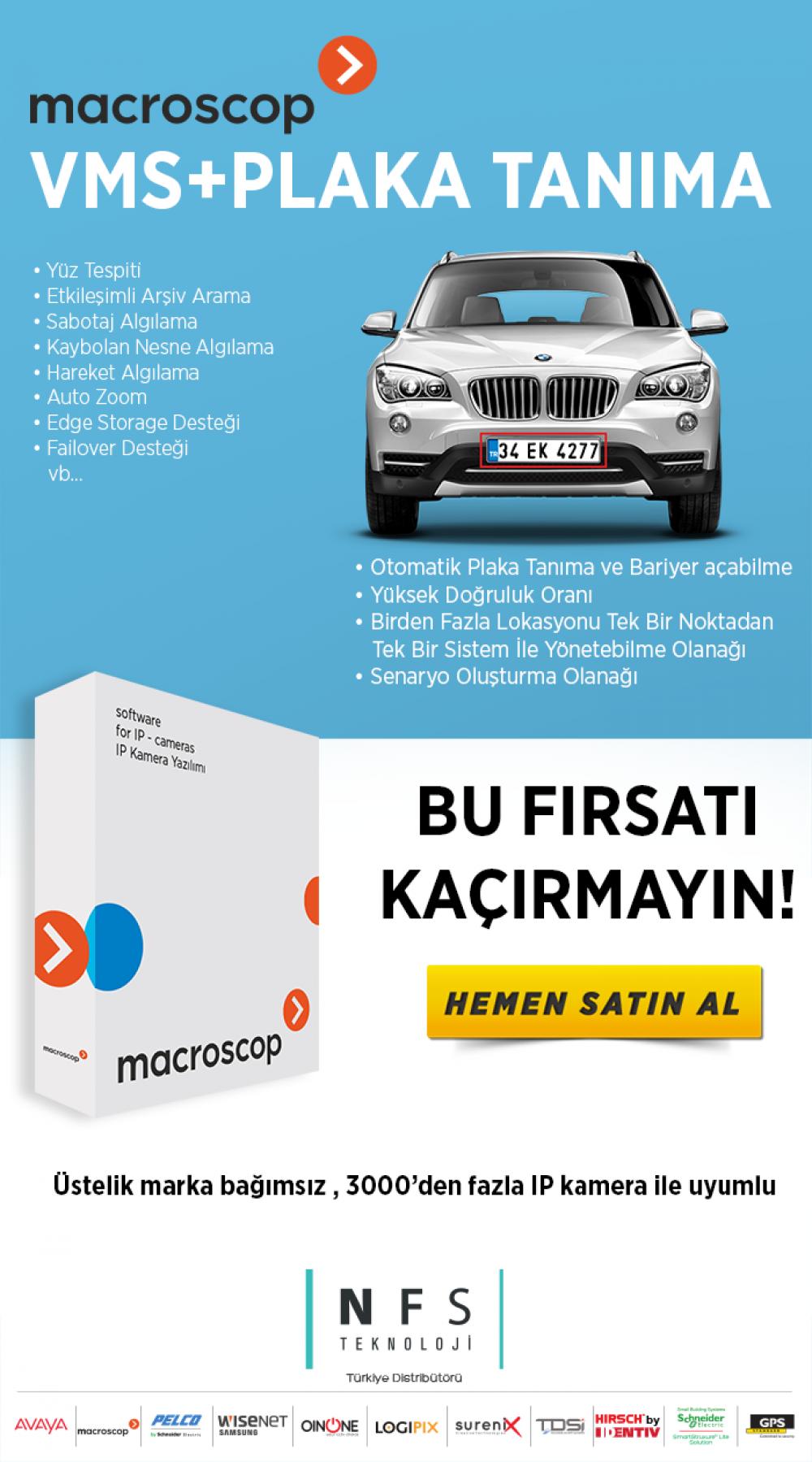 Macroscop VMS Yazılımı + Plaka Tanıma